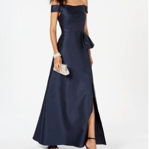 Adrianna Papell off the shoulder satin gown
